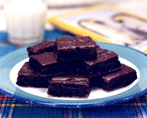 brownies topped with chocolate ganache
