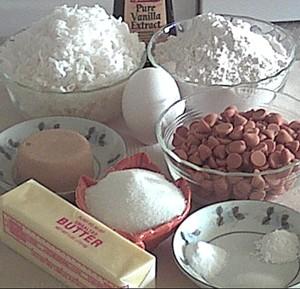ingredients for coconut butterscotch cookies