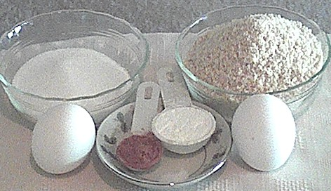 ingredients for cocoa-amaretti, gluten free cookies