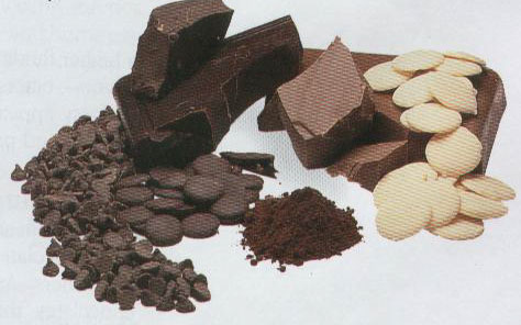 An assortment of chocolate chips and cocoa powder