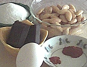 ingredients for almond chocolate macaroons