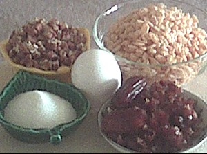 ingredients for no bake puffy rice date cookies