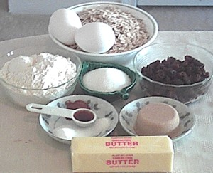 ingredients for oatmeal cookies