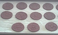 Cutout Oreo cookies are ready for baking