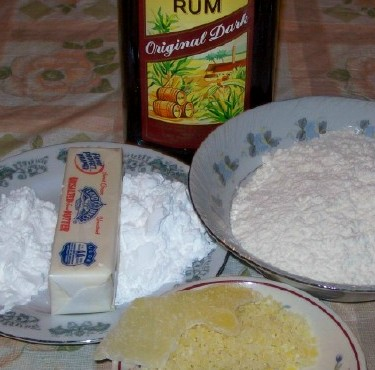 ingredients for rum and ginger shortbread