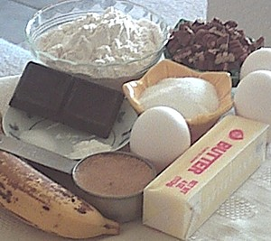 ingredients for banana brownies