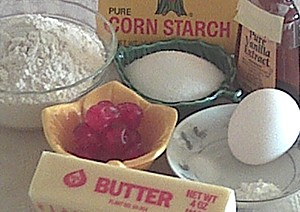 ingredients for butter cookies according to a spritz cookie recipe