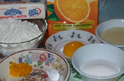 Ingredients for homemade Mexican orange cookies