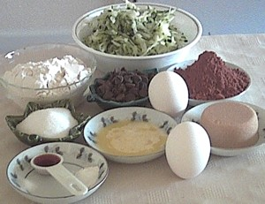 ingredients for chocolate chip zucchini brownies